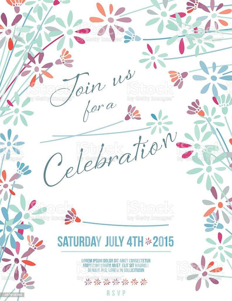 花のガーデンパーティの招待状の背景 ベクターアートイラスト