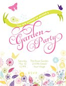 Wildflowers Garden Wreath Garden Party Template. Cute retro flower garden in bright colors at the bottom of the invitation. There is a curved banner at the top for text. There are two bright butterflies in pink ams purple.