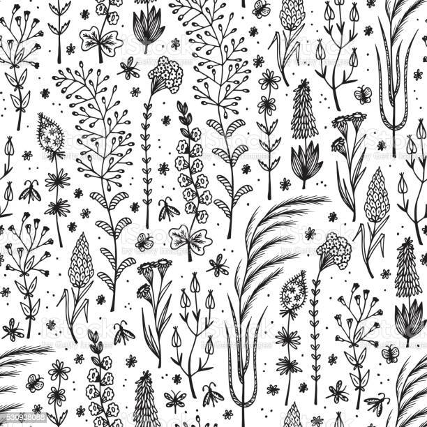 Wildflowers hand drawn doodle wild flowers floral seamless vector vector id530938088?b=1&k=6&m=530938088&s=612x612&h=epj4z9elahms5yagsc9tainm3jijksloibnnitm5ouc=