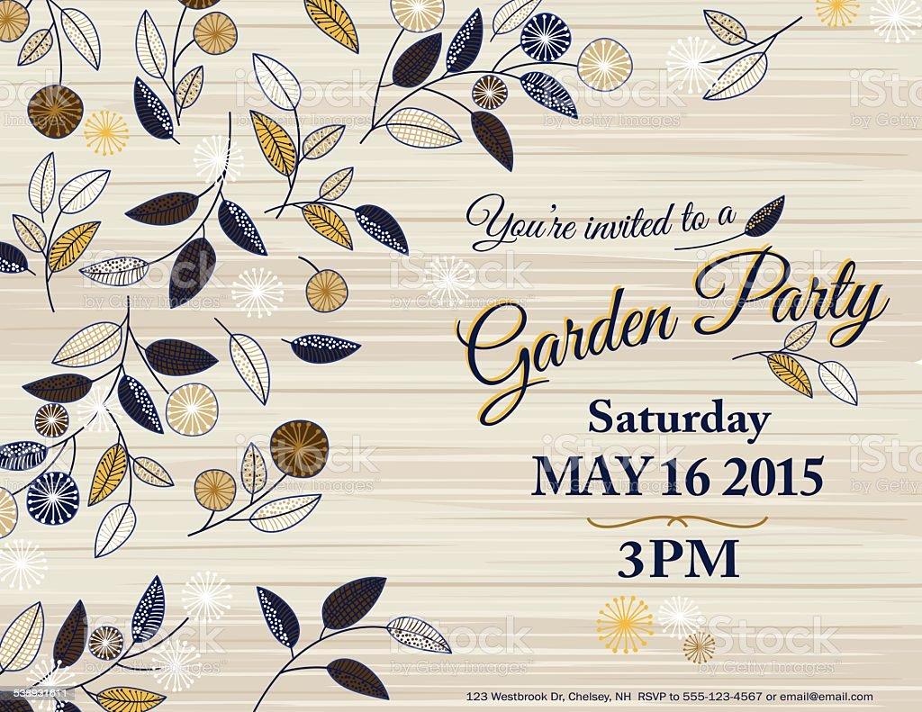 Wildblumen Frühling Garten-Party-Einladung Vorlage – Vektorgrafik