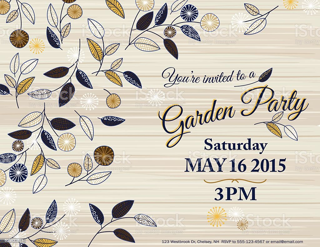 Wildflowers Spring Garden Party Invitation Template vector art illustration
