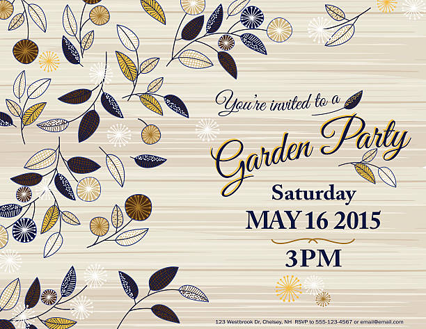Wildflowers Spring Garden Party Invitation Template vector art illustration