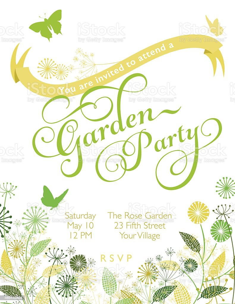 wildflowers wreath with banner garden party invitation template