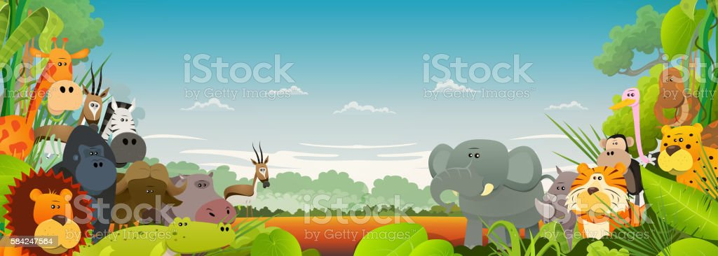 Wildlife African Animals Background vector art illustration