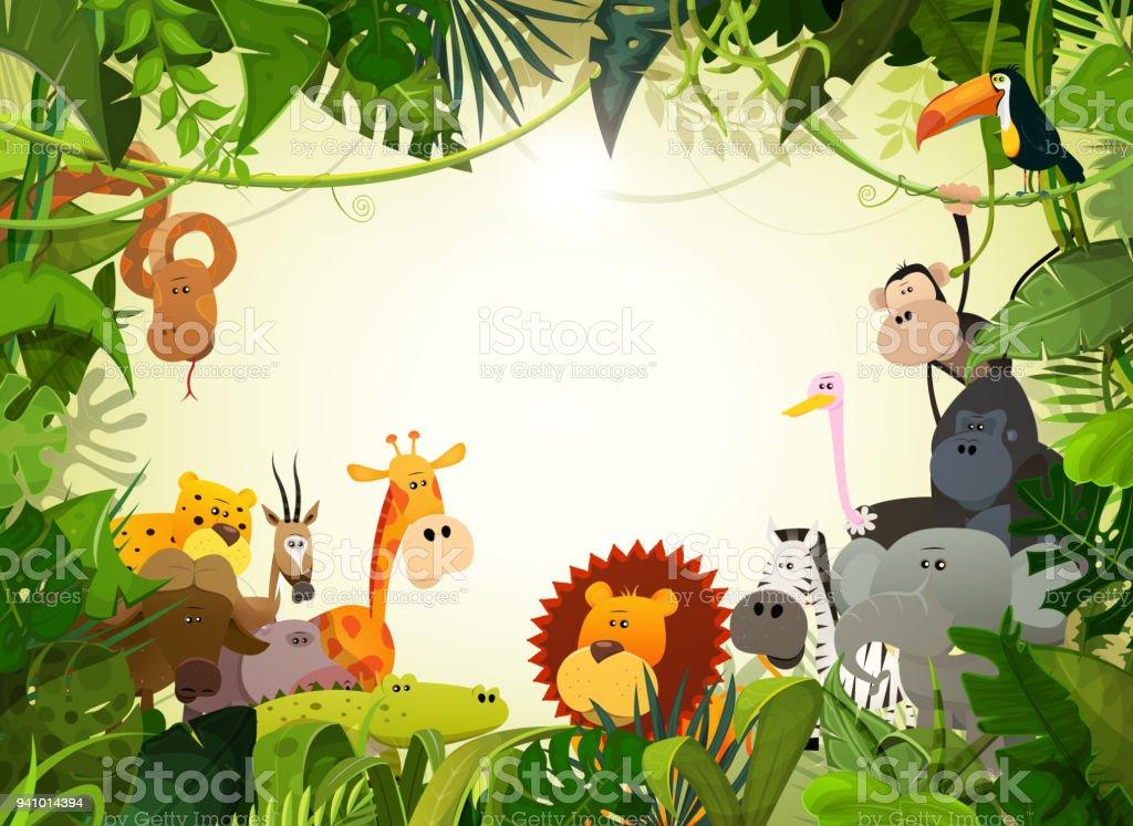 野生動物動物風景 ベクターアートイラスト