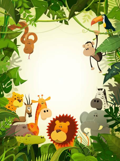 Wildlife Animals Wallpaper Illustration of cute cartoon wild animals from african savannah, including hippo, lion, gorilla, elephant, giraffe, gazelle, ostrich and zebra with jungle background animal markings stock illustrations