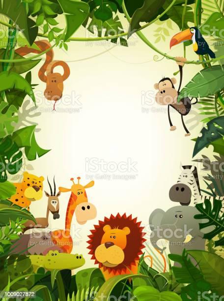 Wildlife Animals Wallpaper — стоковая векторная графика и другие изображения на тему Африканский буйвол