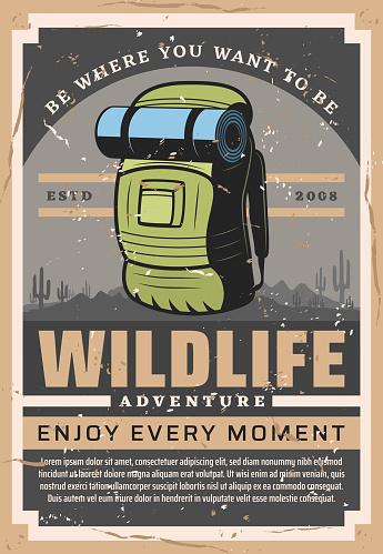 Wildlife backpacking adventure, hiking sport club