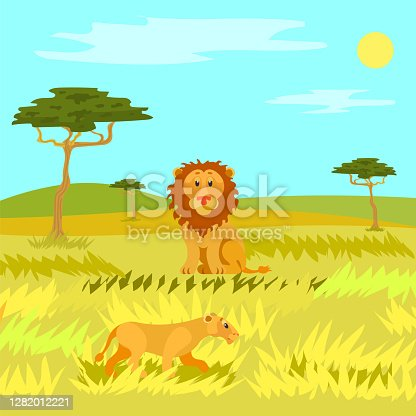 istock Wildlife Dangerous Animal in Savannah, Lion Vector 1282012221