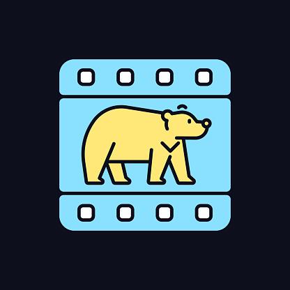 Wildlife documentary RGB color icon for dark theme