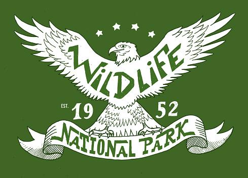 Wildlife. National park. Vintage illustration for t-shirt, apparel, print
