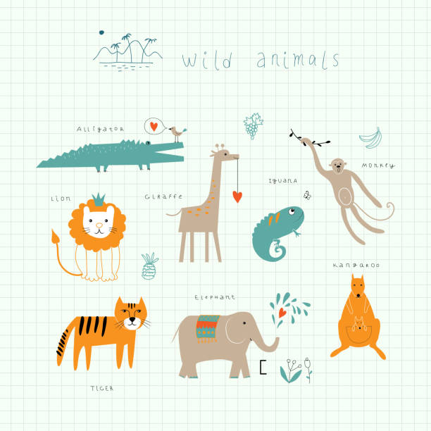wildlife - giraffenhumor stock-grafiken, -clipart, -cartoons und -symbole