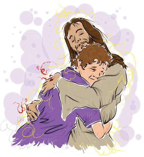 20 Jesus Hugging Man Illustrations Royalty Free Vector Graphics Clip Art Istock