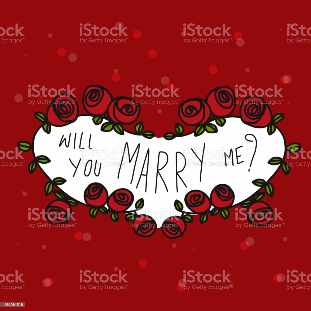 Will You Marry Me Word In Rose Heart Frame Stock Vector Art More