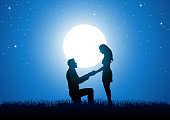 Silhouette of a man kneeling down and holding the hand of a standing woman against beautiful starry night and full moon, for proposing, romantic moment, lover theme
