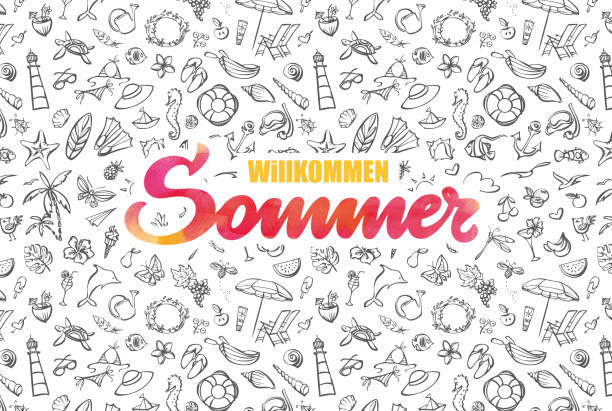 Willkommen Sommer – welcome summer in german language illustration vector art illustration