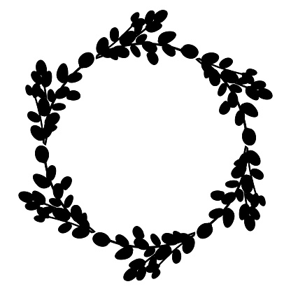 Willow Easter wreath.Oval wreath of willow branches. Vector illustration isolated on a white background. Design for Easter, wedding, spring decor