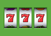 Win 777 jackpot in a green slot machine. Jackpot triple seven. Lucky seven. Casino vegas game. Slot machine game prize.