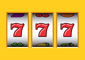 Win 777 jackpot in a yellow slot machine. Jackpot triple seven. Lucky seven. Casino vegas game. Slot machine game prize.