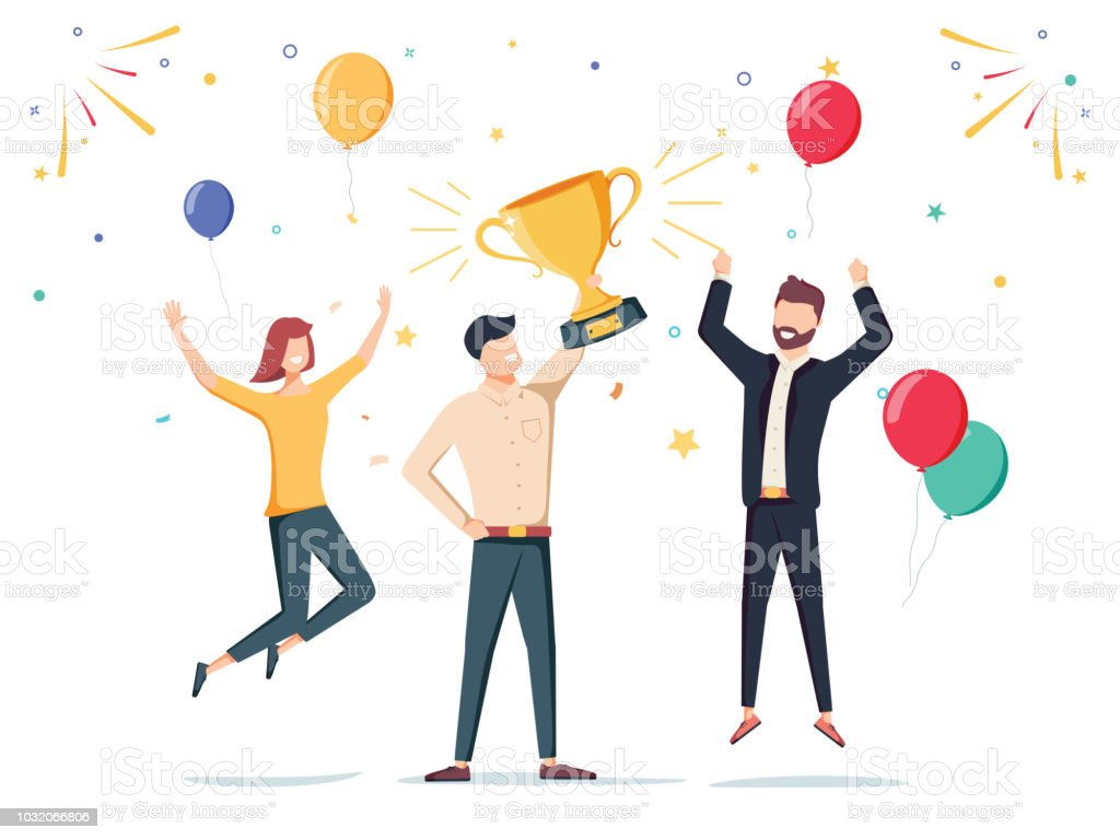 Win achievement. Happy company employee awarding a trophy prize to their leader. Business vector illustration. - Grafika wektorowa royalty-free (Asystent)