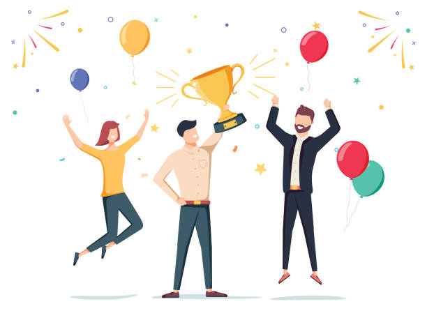 Win achievement. Happy company employee awarding a trophy prize to their leader. Business vector illustration. Win achievement. Happy company employee awarding a trophy prize to their leader. Business vector illustration. Business company party advertising with corporate members. Office manager staff teamwork jumping stock illustrations