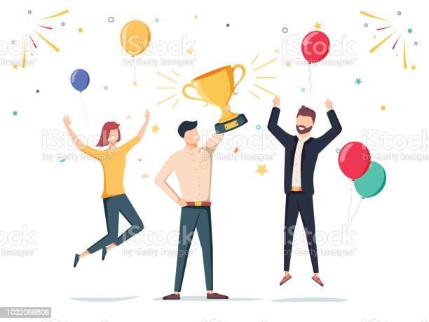 Vetores de Ganhe A Conquista Funcionário Da Empresa Feliz Conceder Um Prêmio De Troféu Ao Seu Líder Ilustração Do Vetor De Negócios e mais imagens de Adulto