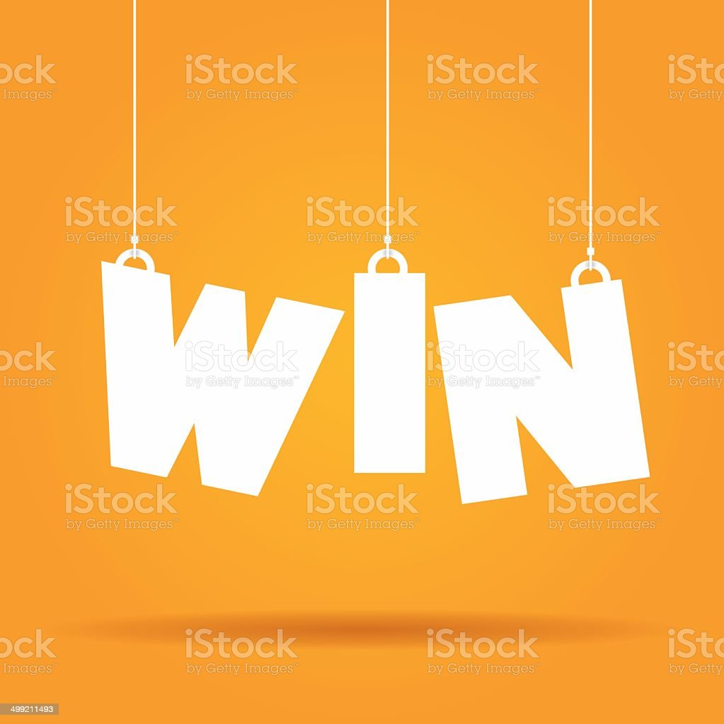 Win hanging label vector art illustration