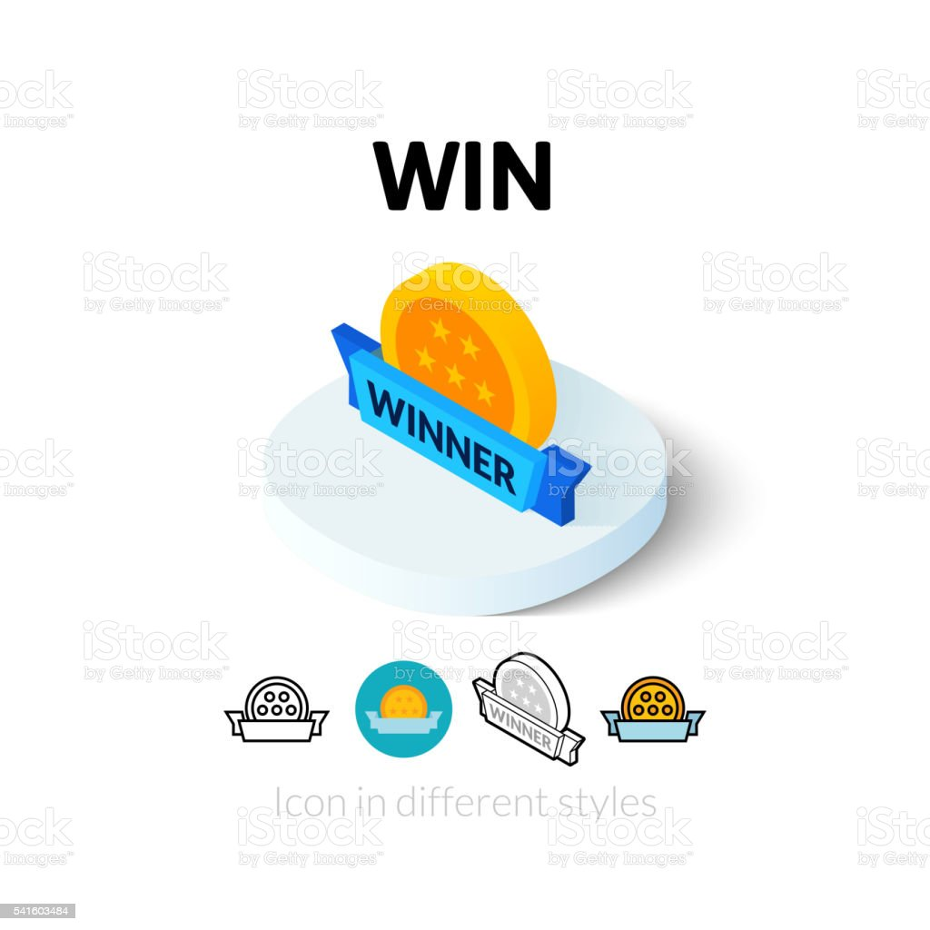 Win icon in different style vector art illustration