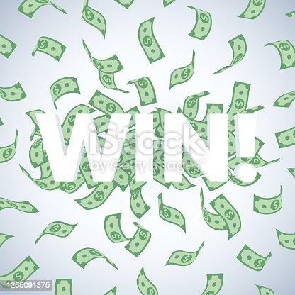 istock Win! Illustration with Falling American Dollar Bills 1255091375