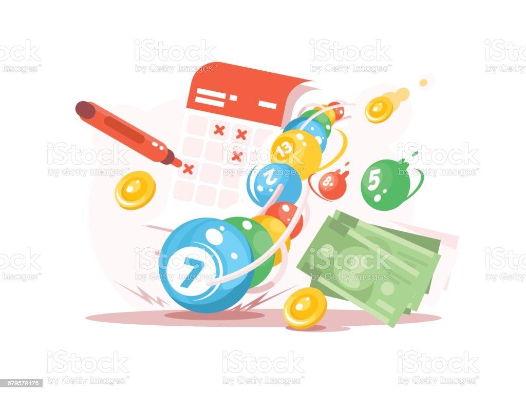 Win in lottery vector art illustration