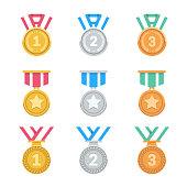 Win medals set.
