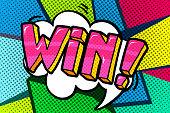 Win Message word bubble in retro pop art style. Vector illustration.