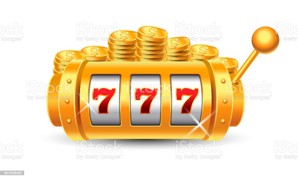 Win Slots Machine with 777 combination and Golden Coins on white background vector art illustration