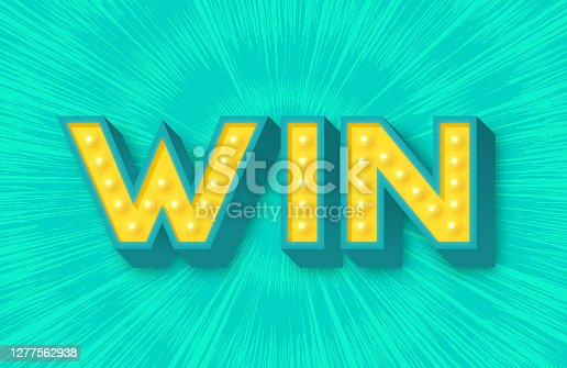 Win success winner entering contest sweepstakes design with blast background.