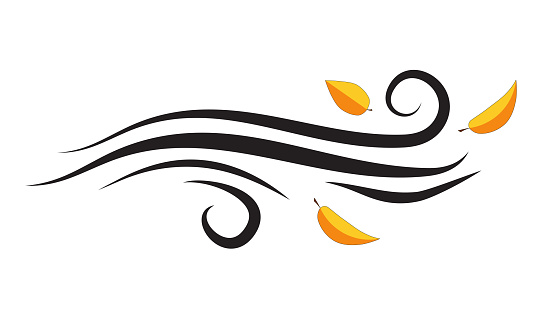 Wind blowing with leaves. Flying leaf vector silhouette isolated on white. Abstract swirl windy weather symbol. Illustration of clipart wave. Autumn sign with falling foliage. Autumnal simplicity icon