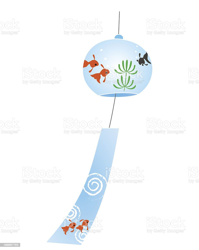 Wind chime which has gold fish paint vector art illustration