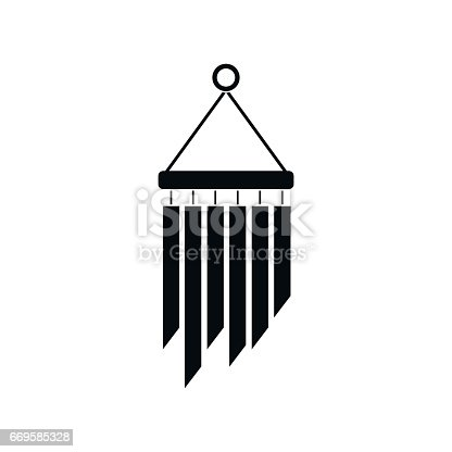 Wind chimes icon in simple style isolated on white