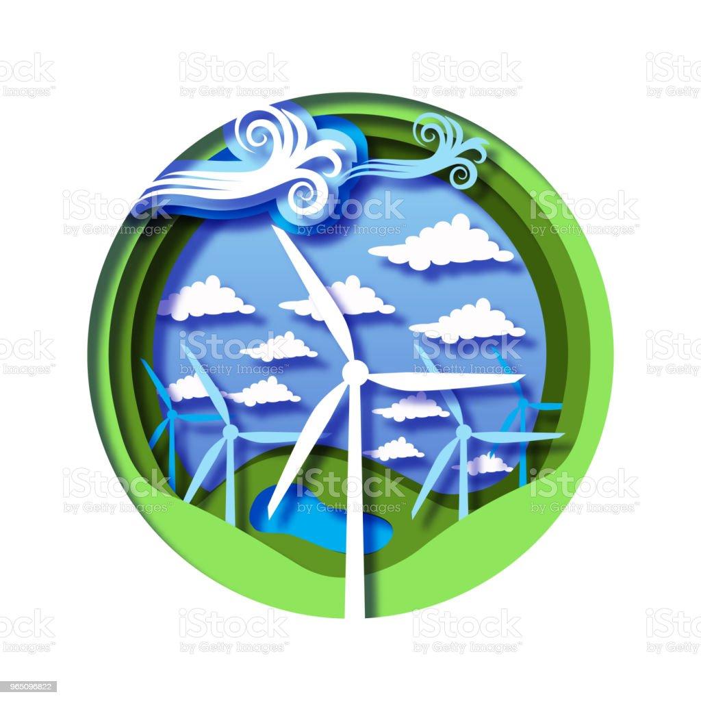 Wind energy concept with wind mills, green natural landscape with hills, lake and cloudy sky. wind energy concept with wind mills green natural landscape with hills lake and cloudy sky - stockowe grafiki wektorowe i więcej obrazów bez ludzi royalty-free
