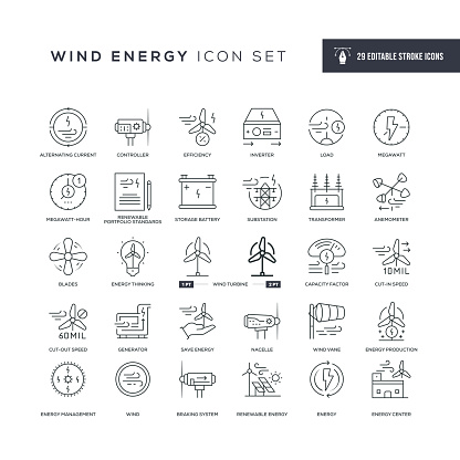 Wind Energy Editable Stroke Line Icons
