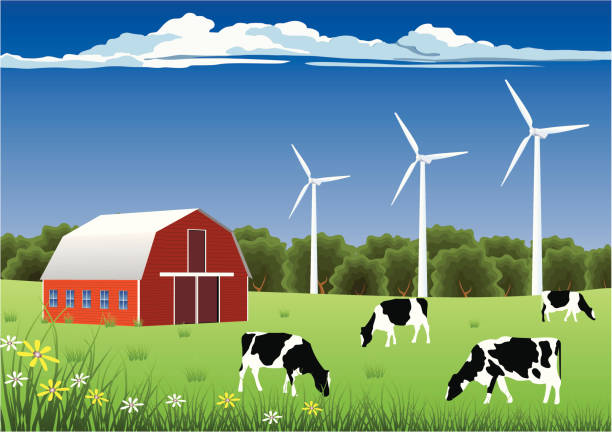 Wind Energy for Farmers Modern Farm Powered by Windmill. paddock stock illustrations