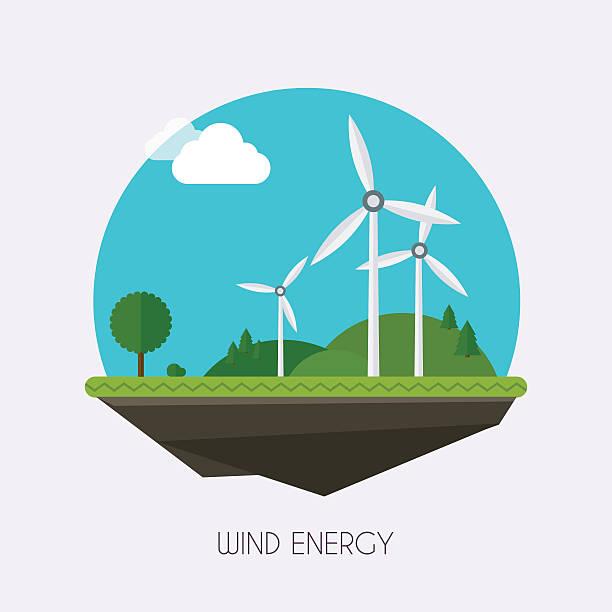 stockillustraties, clipart, cartoons en iconen met wind energy. landscape and industrial factory buildings concept. - windmolen