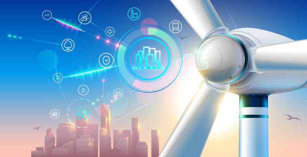 Wind farm close up. silhouette town on sunset. smart city green energy concept. alternative electricity communication with urban infrastructure. Illustration of windmill or electric generator. vector art illustration
