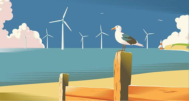 wind farm on the coast - rüzgar değirmeni stock illustrations