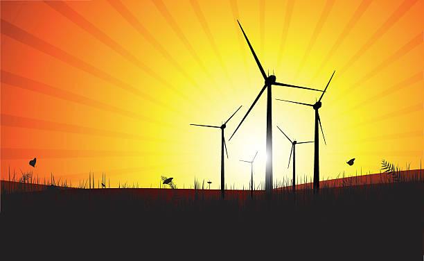 Farm wiatrowych o zachodzie słońca – artystyczna grafika wektorowa