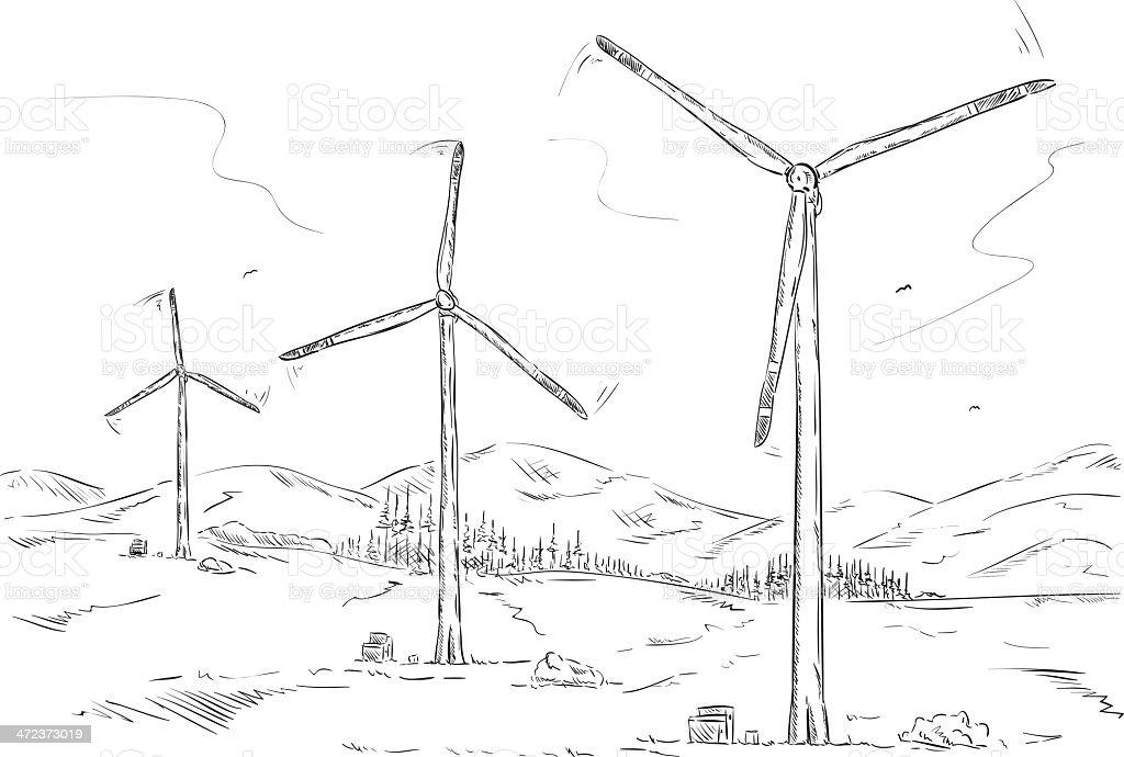 wind farm stock vector art 472373019