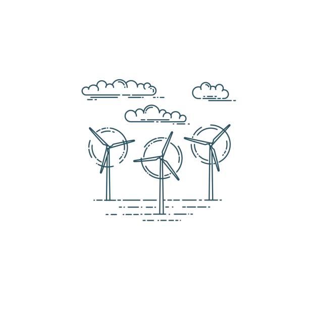 rüzgar jeneratör türbinleri ve bulutlar - rüzgar değirmeni stock illustrations