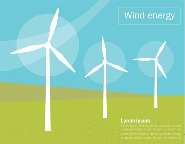 stockillustraties, clipart, cartoons en iconen met windmolens. vector - windmolen