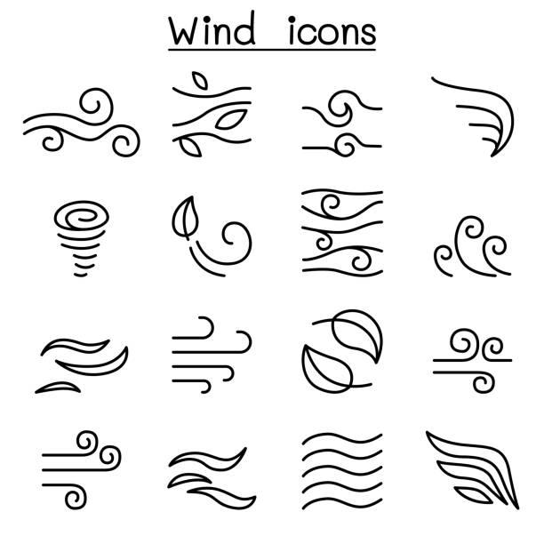 stockillustraties, clipart, cartoons en iconen met wind pictogrammenset in dunne lijnstijl - wind