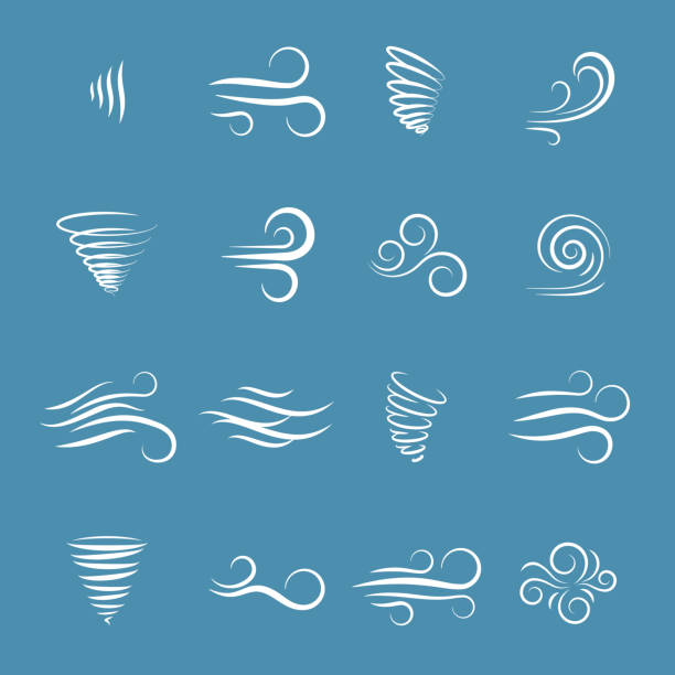 Wind icons vector Wind icons nature, wave flowing, cool weather, climate and motion, vector illustration wind stock illustrations