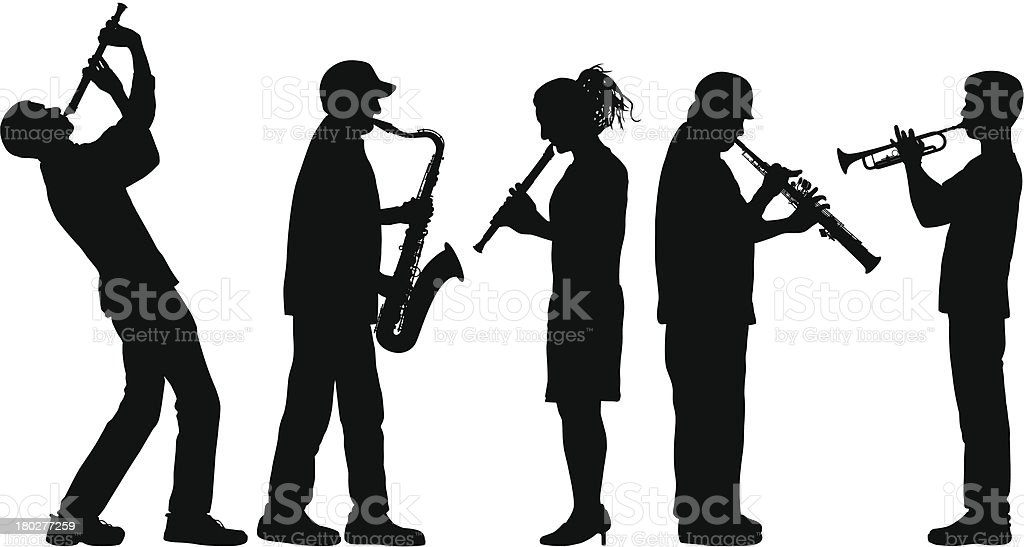 Wind Instrument Musicians royalty-free stock vector art